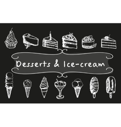 Chalk desserts and ice-cream set vector