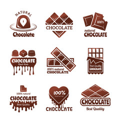 chocolate logo sweets stylized badges chef and vector image