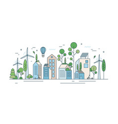 cityscape with environmentally friendly technology vector image