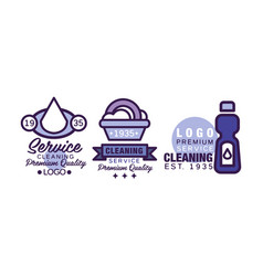 Cleaning service logo template with drop and vector