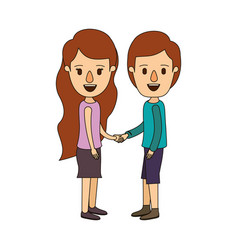 color image caricature side view full body couple vector image