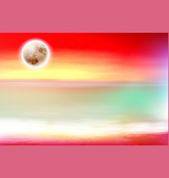 Colorful purple beach with full moon at night vector