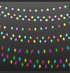 colorful realistic christmas fairy lights set vector image