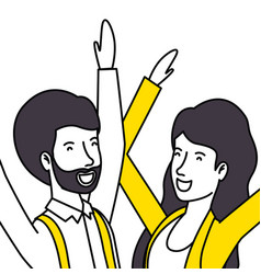 couple lovers with yellow clothes celebrating vector image