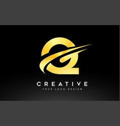 Creative q letter logo design with swoosh icon vector