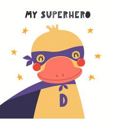 Cute duck superhero vector
