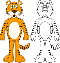Cute humanoid tiger with lineart vector