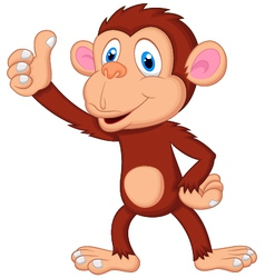 Cute monkey cartoon giving thumb up vector image