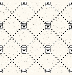 cute seamless pattern with coffee mugs vector image
