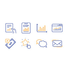 Document messenger and dot plot icons set report vector