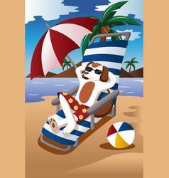 dog at the beach vector image