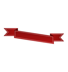 Embroidered red ribbon isolated on white can be vector