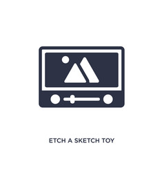Etch a sketch toy icon on white background simple vector