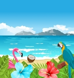 Exotic Wallpaper with Parrot Ara Pink Flamingo vector image vector image