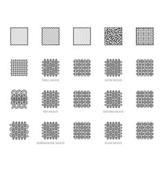 Fabric sample flat line icons set weave types vector