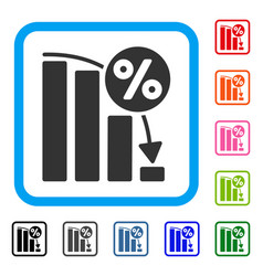 falling percent bar chart framed icon vector image