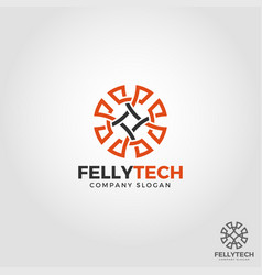 felly tech - abstract line art circle logo vector image