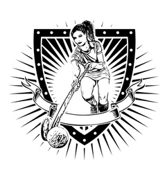 Field hockey shield vector