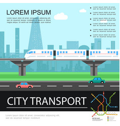 flat city transport colorful template vector image