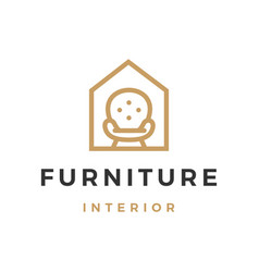 furniture interior sofa house outline logo icon vector image