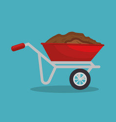 garden wheelbarrow soil isolated icon vector image