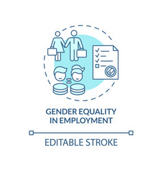 Gender equality in employment blue concept icon vector