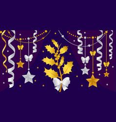gold christmas decorations on a purple background vector image