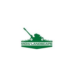 Green mow landscape logo design vector