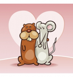 hamster and mouse in love vector image