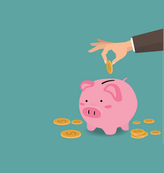 Hand putting coin a piggy bank money savings conce vector