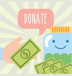 Hand with money and jar banknote donate charity vector