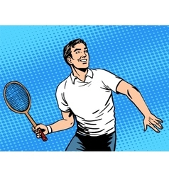 Handsome man playing tennis vector