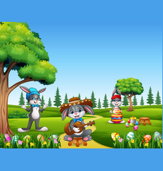 happy easter bunny on the nature background vector image