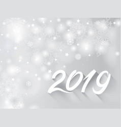 Happy new year 2019 banner over snow blurry vector