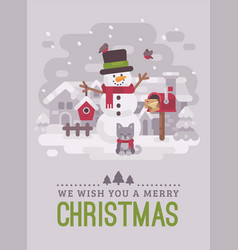 happy snowman with kitten mailbox and birdhouse vector image