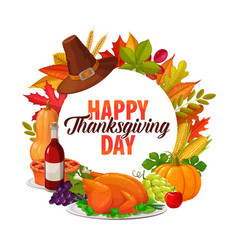 happy thanksgiving day cartoon round frame vector image
