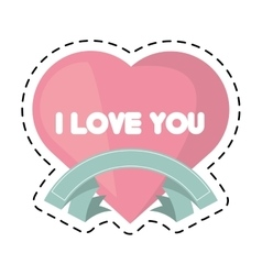 Heart i love you ribbon cut line vector