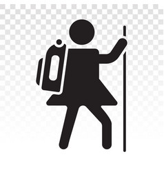 Hiking mountain climber flat icon for apps vector