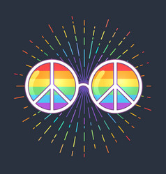 hippie sunglasses with rainbow lenses and peace vector image