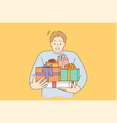 holiday gift celebration happiness shopping vector image