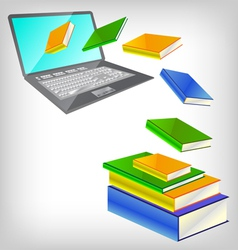 laptop and books vector image