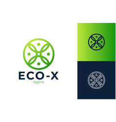 letter x eco leaves logo icon design template vector image