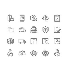 line shipping icons vector image