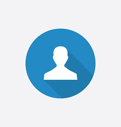 Male profile Flat Blue Simple Icon with long vector