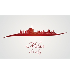 Milan skyline in red vector image