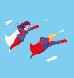 modern super heroes flying sky clowds character vector image