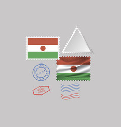 Niger flag postage stamp set isolated on gray vector