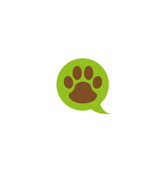 paw in chat icon and footprint symbol logo vector image