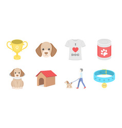 pet dog icons in set collection for design caring vector image