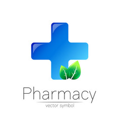 Pharmacy symbol with blue cross and green vector